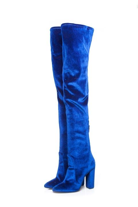 Aquazurra, Blue Thigh high velvet over the knee boots.