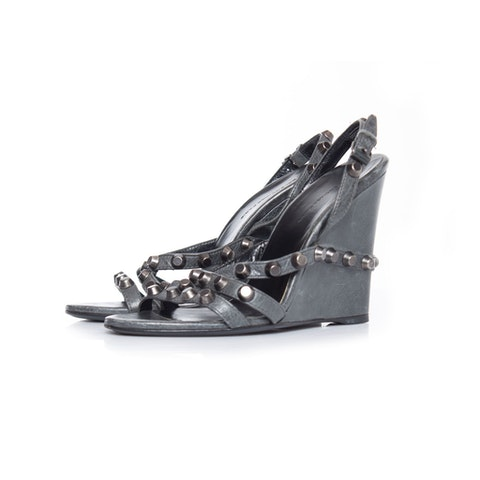 Grey Leather Studded Wedges
