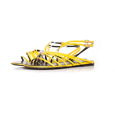 Yellow Leather Strap Sandals