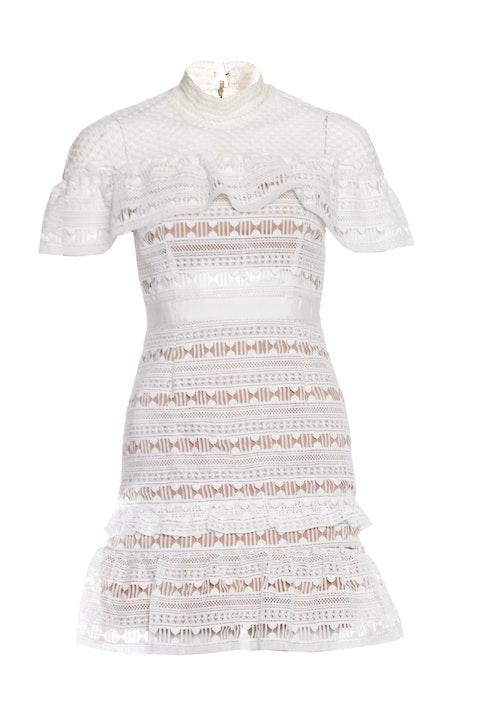 Self Portrait, White ruffled lace mini dress.