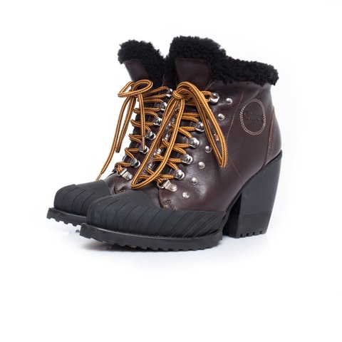 Brown Rylee Leather And Shearling Boots SIZE: 36.5