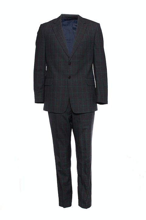 Paul Smith, grey Checkered green striped suit.