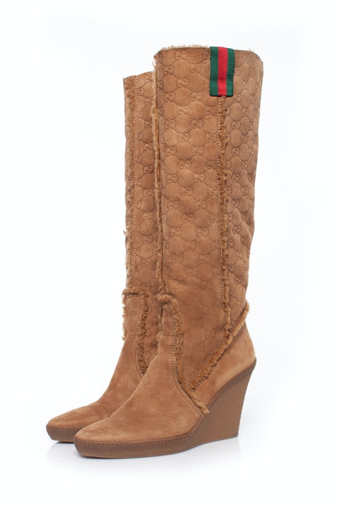 Brown Suede Logo Boots SIZE: 39