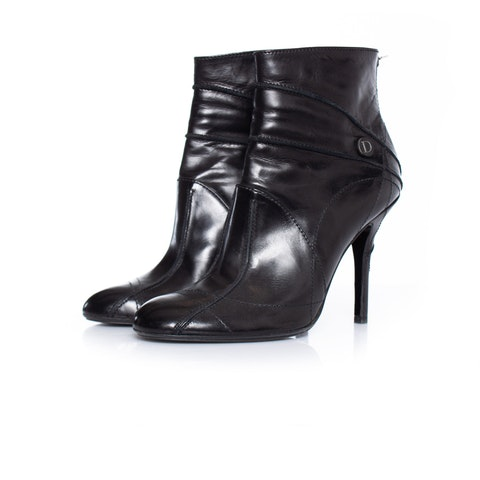 Black Leather Ankle Boots SIZE 39.5