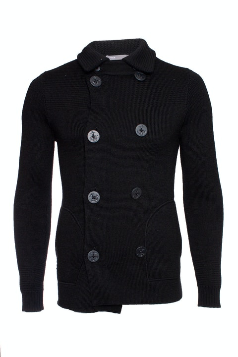 Vince, black vest with anchor buttons
