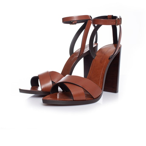 Brown Tanger Wood And Leather Sandals.