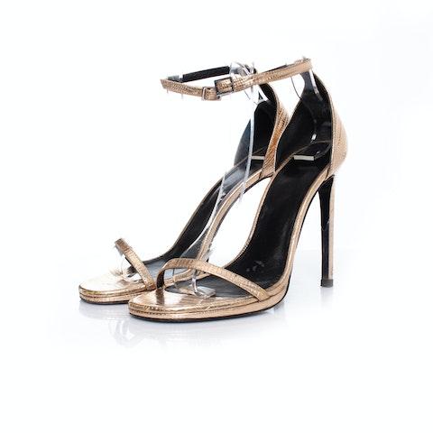 Gold Jane Lizard Sandals