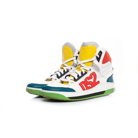 Dsquared2, High top color block sneakers.