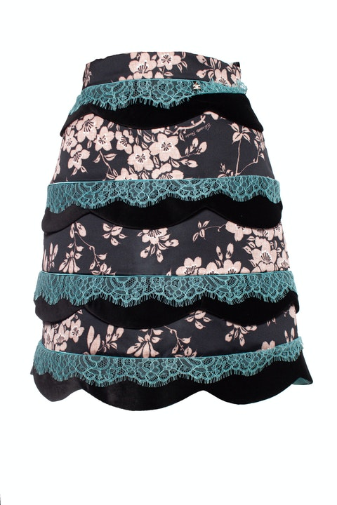 Elisabetta Franchi, Floral skirt with velvet and lace.