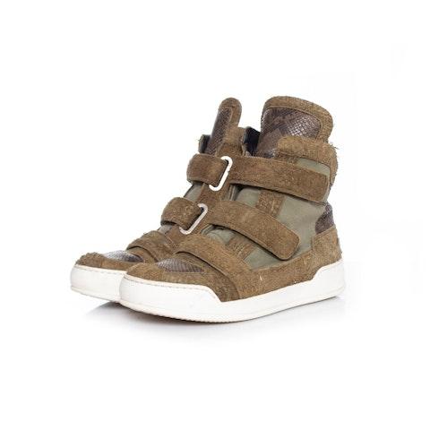 Brown Brushed Suede High Top Sneakers