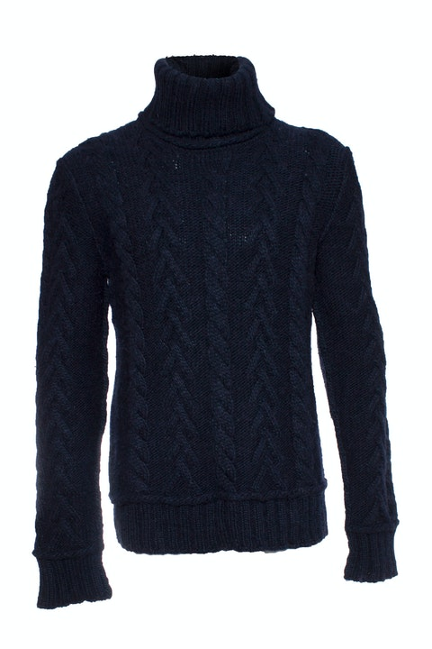 Blue Wool Cable Sweater