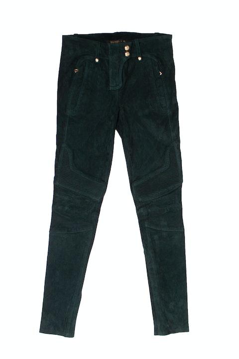 Green Suede Biker Trousers