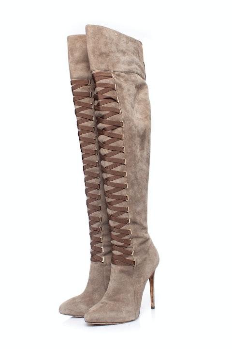 Elisabetta Franchi, Lace up boots in kaki.