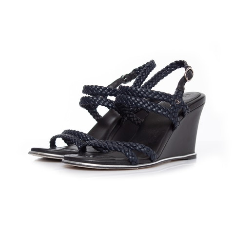 Navy Leather Wedges Sandal SIZE: 38.5c