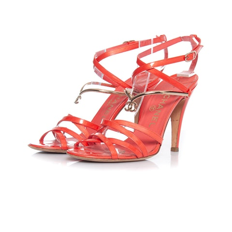Coral pink patent leather sandals