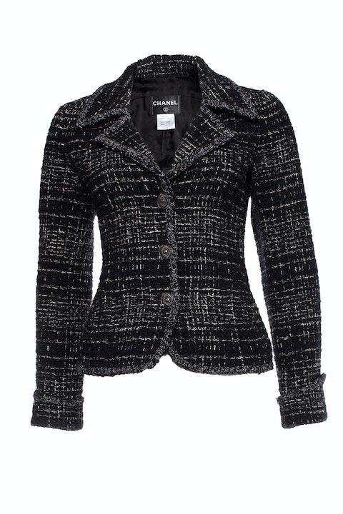 Blackboucle jacket with lurex