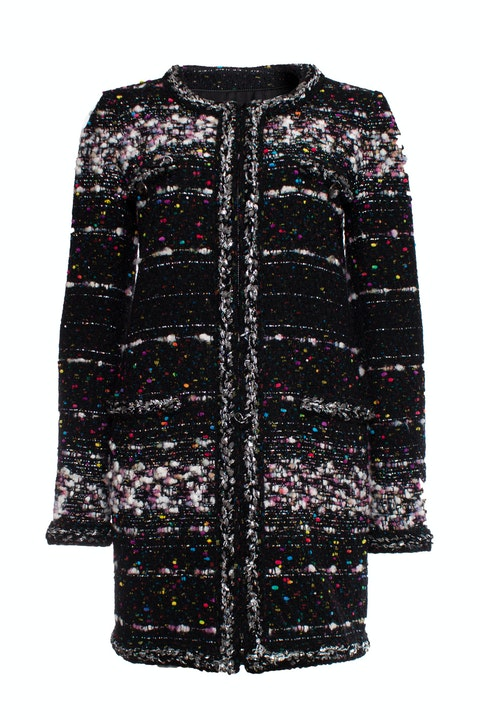 Black boucle coat with multi-colored weave
