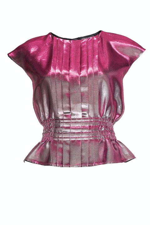 Pink lurex pleated top