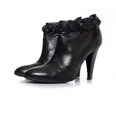 Black Leather Ankle Boots SIZE: 38