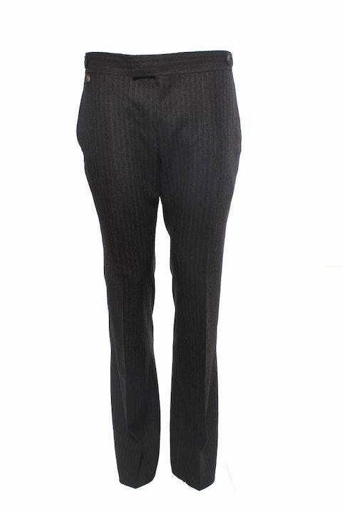 Yves Saint Laurent, brown flair pants with grey pinstripe.