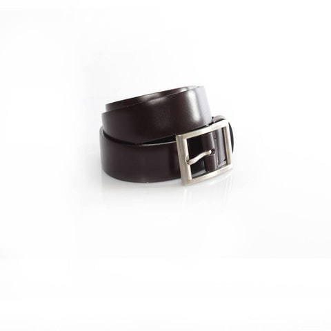 Dark Brown Leather Belt With Silver Buckle