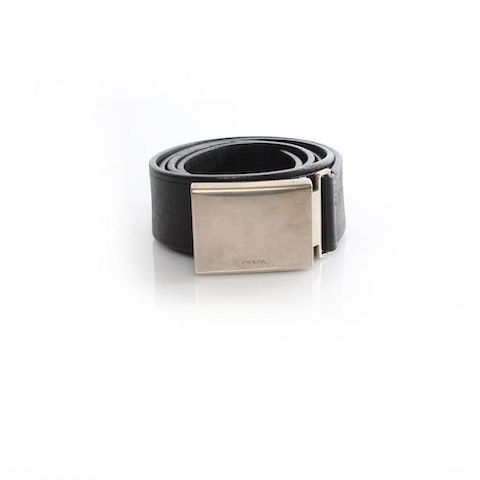 Black Leather Belt With Silver Buckle.