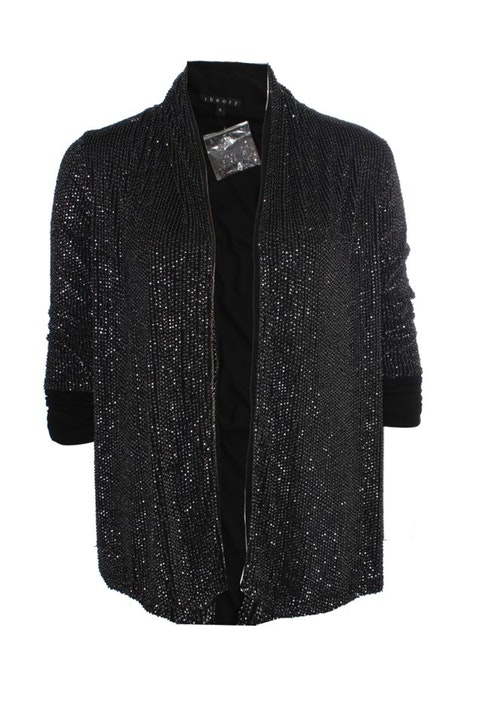 Theory, black jacket with silver sequins.