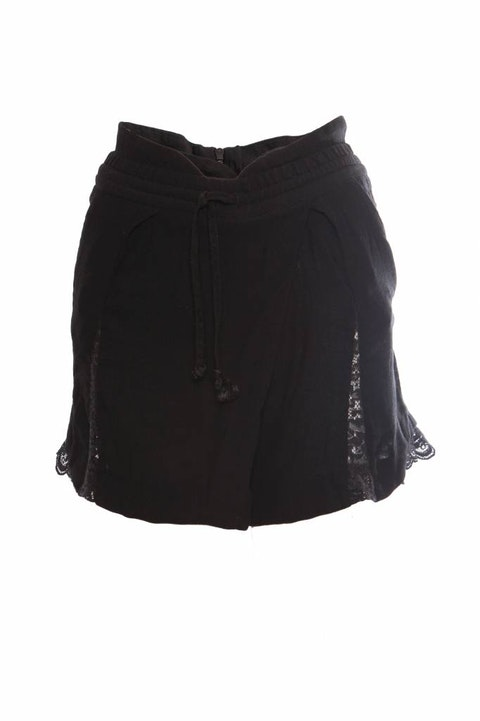 The Kooples, black shorts with lace details.