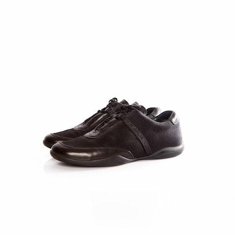Black Leather Sneakers With Prada Logo.