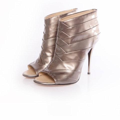 Metallic Leather Peeptoe Ankle Boots size 39