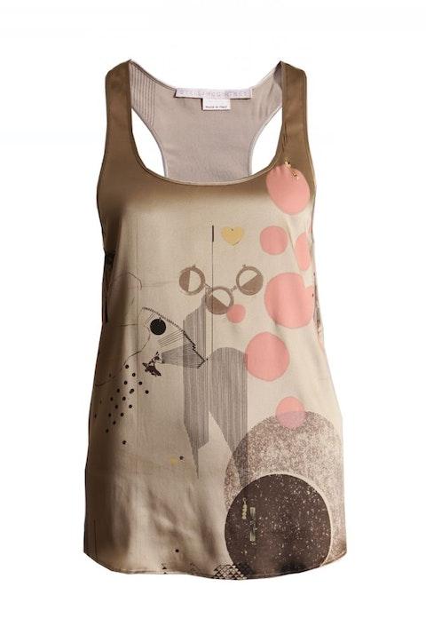 Brown Silk Top With Fantasyprint