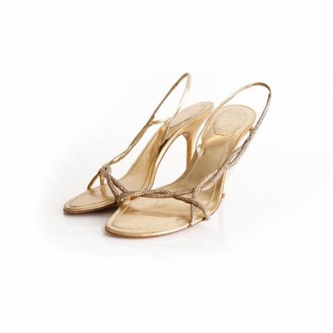 Rene Caovilla, gold colored sandals with strass