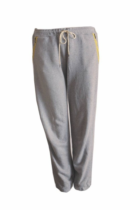 Victoria Beckham, Grey jogging trousers with yellow details in size 3/L.