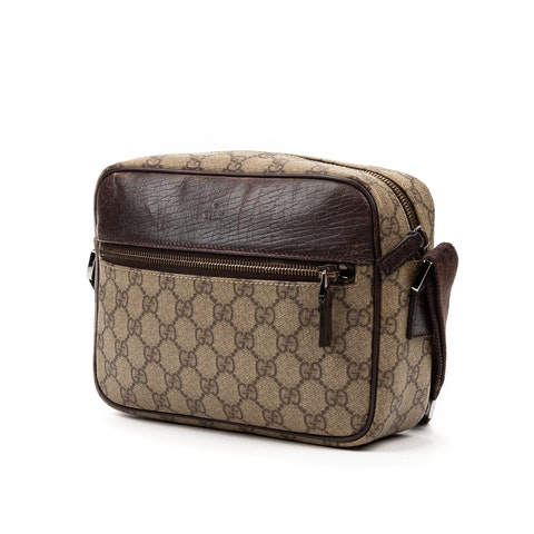 Gucci Front Pocket Camera Bag  in Beige/Brown Coated Canvas