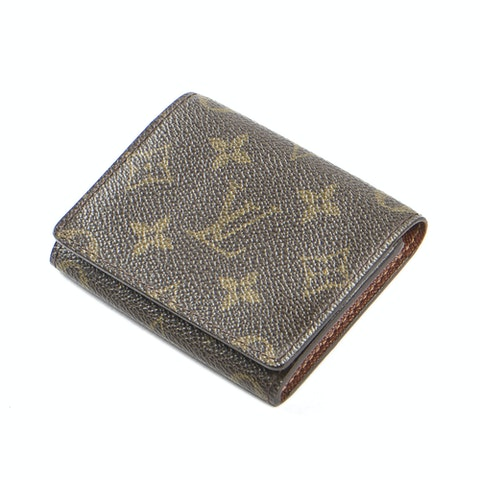 Business Card Holder  in Brown Coated Canvas
