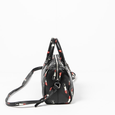 Limited Edition Lipstick Duffle 6  in Black/White/Red Calf Leather