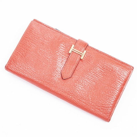 Hermès Bearn Wallet  in Red Calf Leather