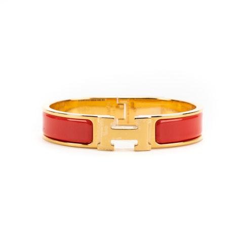 Clic H Bracelet  PM in Red Metal