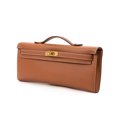 Hermes Kelly Cut Clutch Swift  in Gold Calf leather