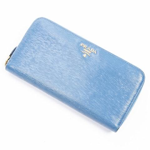Prada Zip Around Wallet  in Cobalt Calf Leather