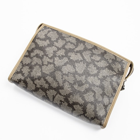 Vintage Flap Pouch  in Dark Khaki Coated Canvas