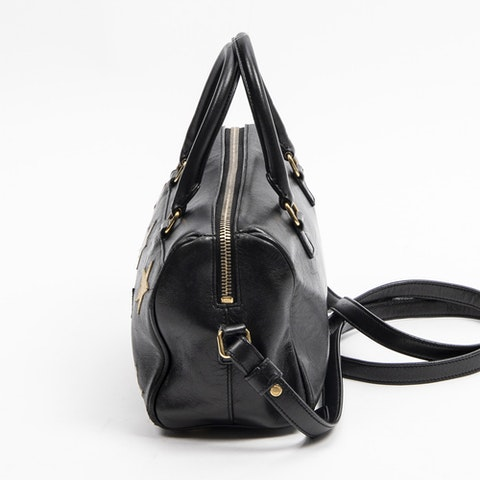 Baby Duffle  in Black Calf Leather