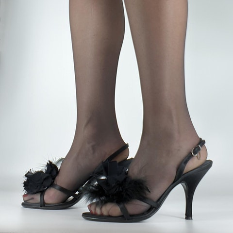 Ferragamo Sing Evening Sandal With Heel And Feathers