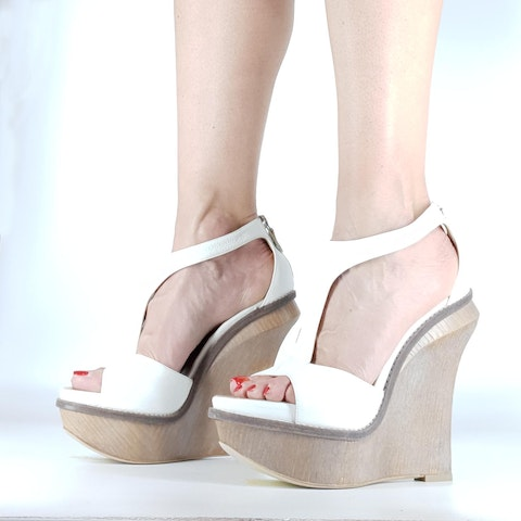 White Sculpture Sandal With Wedge