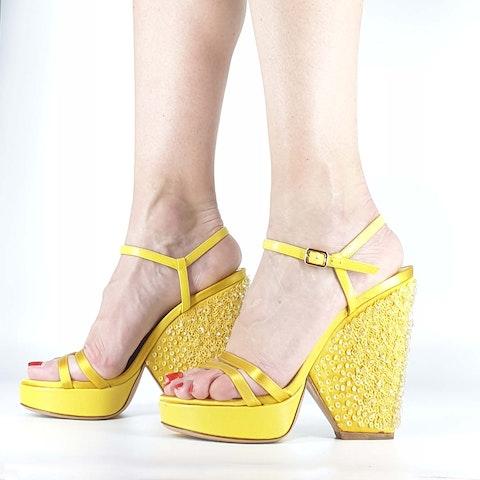 Ferragamo Sandal With Heel-Jewel Plateau
