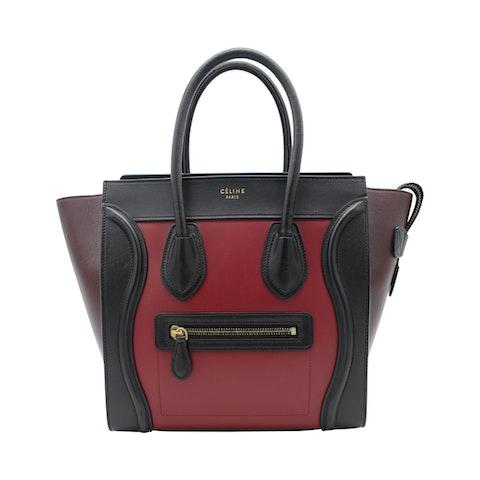 Celine Luggage Micro handbag in burgundy tricolor leather