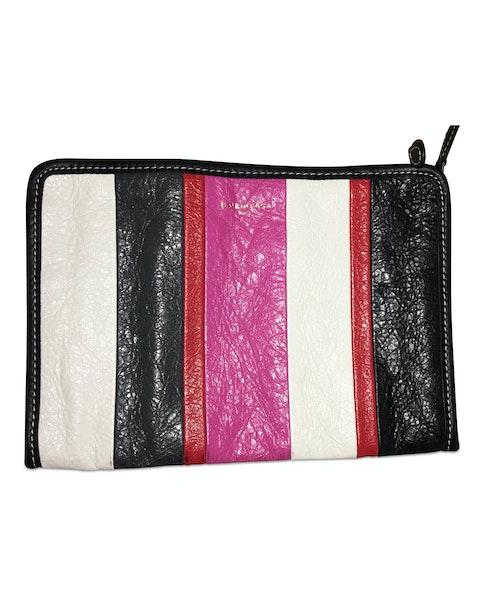 Bazar Striped Lambskin Clutch