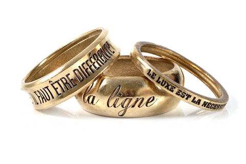 3 Gold Bangles w/Inscriptions