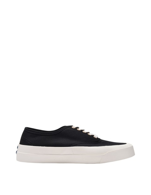 Laced Sneaker in Black Canvas