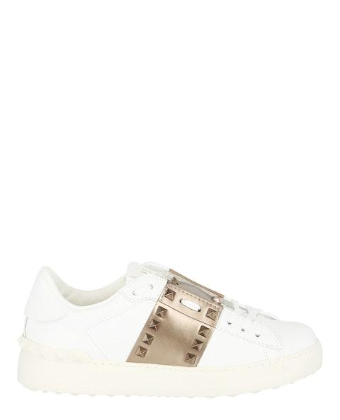 Open Low-Top Leather Sneaker